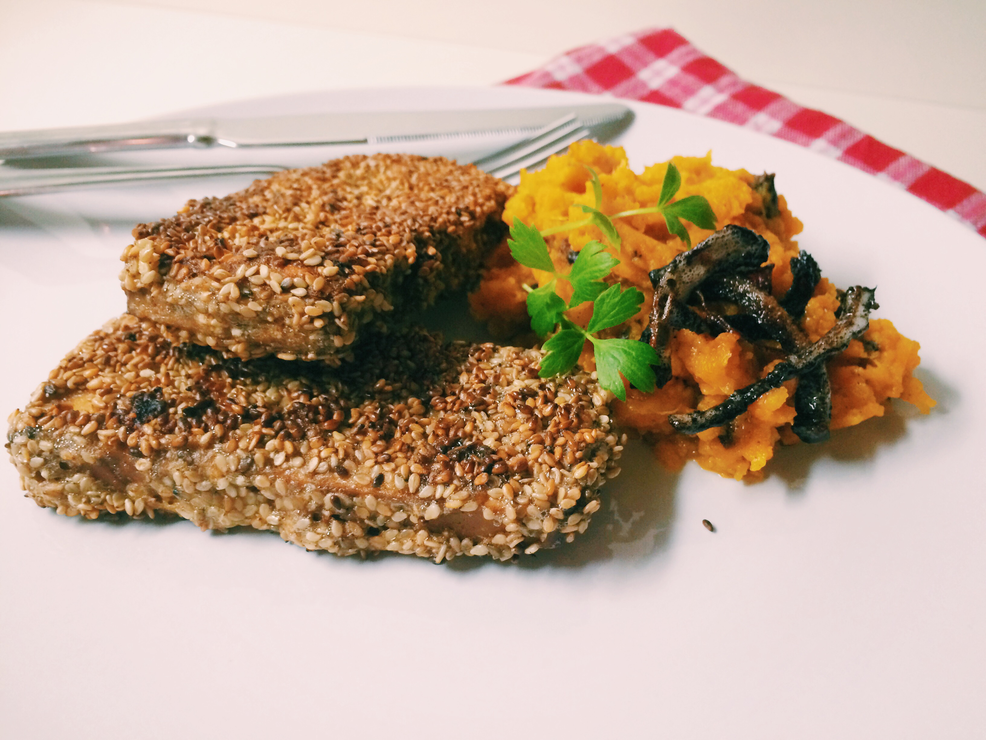 Office Lunch – Tofu Sesam Schnitzel