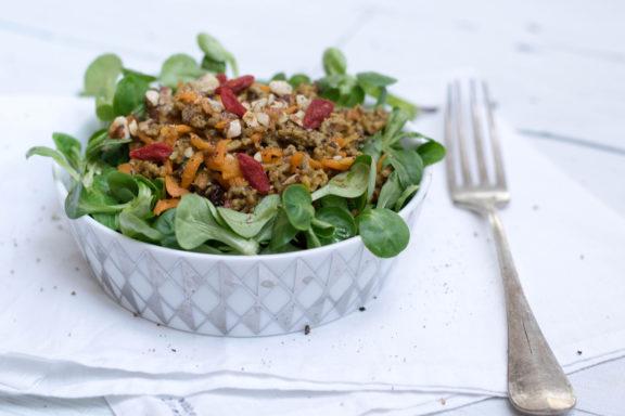 Haselnuss-Karotten-Salat mit Faschiertem