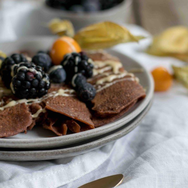 Glutenfreie Schoko Creps mit Beeren