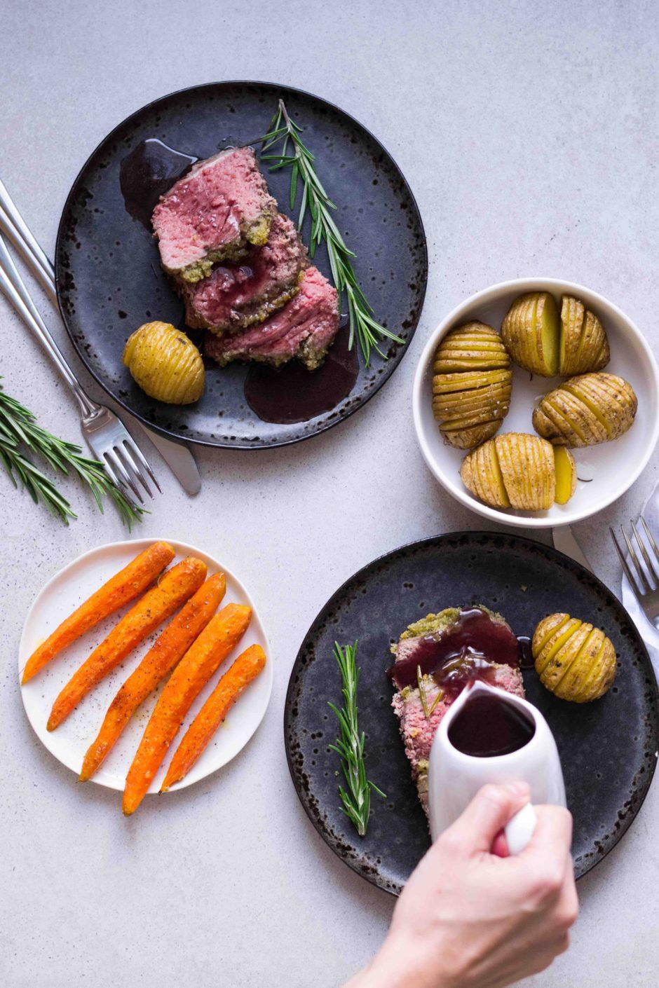 Festtagsessen – Roastbeef mit Kräuterkruste